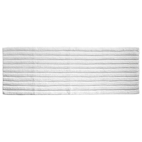 mDesign Soft 100% Cotton Luxury Hotel-Style Rectangular Spa Mat Rug, Plush Water Absorbent, Ribbed Design - for Bathroom Vanity, Bathtub/Shower, Machine Washable - Long Runner, 60 x 21 - White