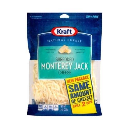 Kraft Zip Pak Natural Shredded Monterey Jack Cheese, 8 Ounce -- 12 per case. by Kraft