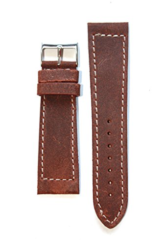 19mm Flat Rustic Heavy Vintage Panerai Style Leather Watchband Made in Italy Contrast Stitching