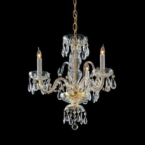 - Polished Brass / Hand Polished Bohemian Crystal 3 Light Candle Style Mini Chandelier