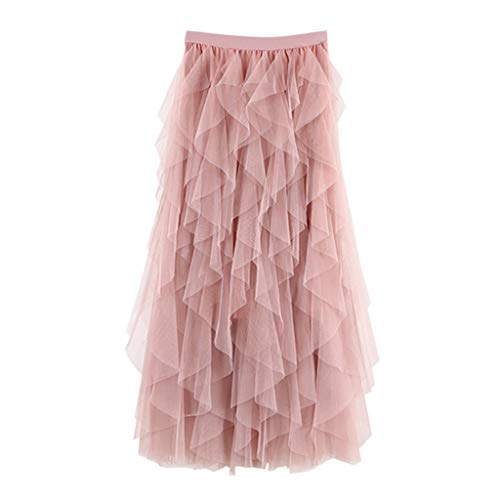 Koolee Women Dress,Casual Womens Comfortable Tulle High Waist Pleated Tutu Skirt Ladies Midi Skirt(Free Size,Pink)