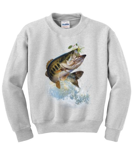 (Express Yourself Fish and Hook Largemouth Bass Crew Neck Sweatshirt (Ash Gray - XL) - MENS SIZING )