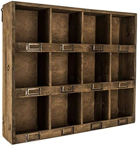 Rustic Antique Brown Wooden Wall Shelf with 12-Slots