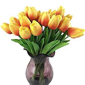 Calcifer@ 12 Pcs (One Set)13.8'' New Beautiful PU Mini Artificial Tulips Flowers Bouquet For Home Decoration/Wedding 42