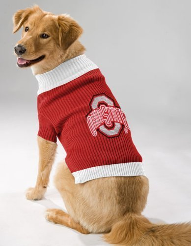 Pets First OHIO STATE BUCKEYES DOG PET EMBROIDERED SWEATER - XS S M L - LICENSED (Large)