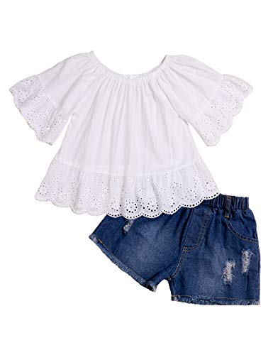Lankey Girl Clothes Little Kids Short Sets Cotton Casual Coat Jeans 2 Pcs Pants Sets (B-White, 7-8T) ()