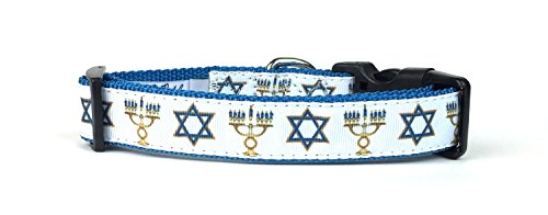 Hanukkah Dog Collar - Midlee Medium Hanukkah Star of David Menorah Nylon Ribbon Dog Collar