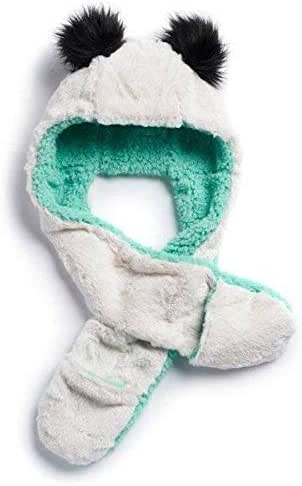 SO Girls Kids Ivory Teal Fur Winter Hooded Critter 3 in 1 Scarf Hat Mittens