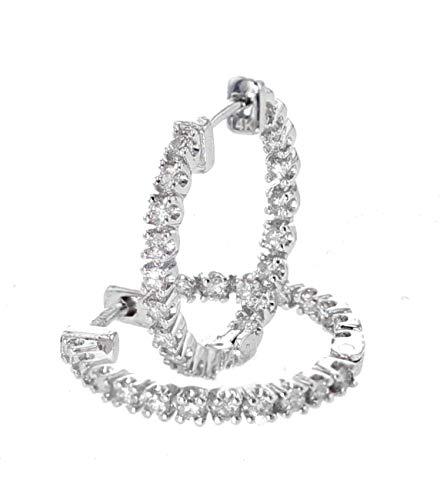 - 14K White Gold Diamond Earrings Hoop Earrings 18mm Round DiamondHoops Womens 2/3ctw Inside Out Earrings