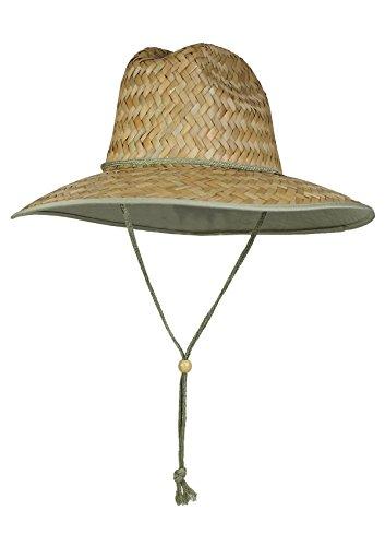 Trim Brim Hat (Natural Trim SPF 50+ Straw Lifeguard Surfer Sun Hat – Fabric Lining Under Brim)