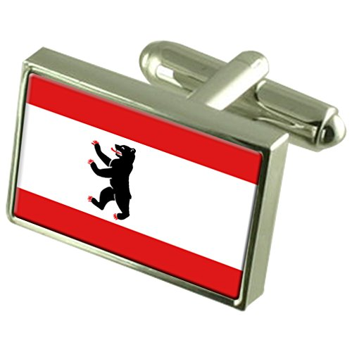 Berlin Civil Sterling Silver Flag Cufflinks in Engraved Personalised Box by Select Gifts
