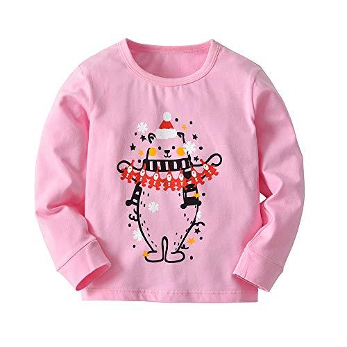 Baby colletto Pantaloni Adeshop Rosa Santa 18 Ragazze 5 Top 2 Casual pezzi Christmas Print Carnevale mesi anni Fashion Set Ragazzi Baby tondo Party Clothes lunghi wqxa8rnSOq