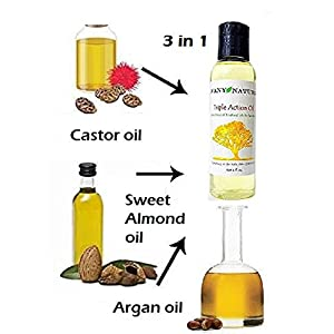Triple Action Oil for Hair and Skin - Pure and Natural Blend of 3 Nautral Oils - Castor Oil, Argan Oil, and Sweet Almond Oil - Improve Hair Scalp and Moisturize Skin Naturally - HealthyMassage Oil