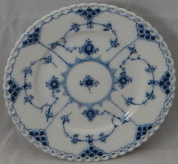 Blue Lace Bread - Royal Copenhagen Blue Fluted-Full Lace Bread & Butter Plate