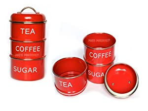 Retro Vintage Stacking Tea Coffee Sugar Red Storage Jars Canisters Kitchen Home
