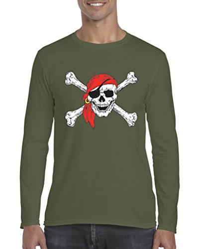 Mom's Favorite Christmas T-Shirt Jolly Roger Skull Crossbones Halloween Ugly Sweater Xmas Party Mens Long Sleeve Shirts ()