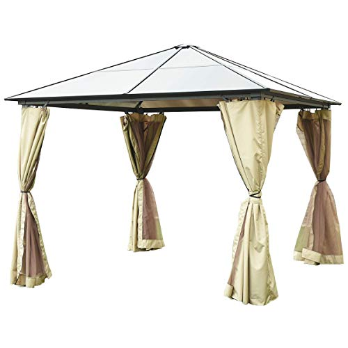 Tangkula 10'x10' Hardtop Aluminum Permanent Gazebo Canopy Tent Outdoor Patio Garden Shelter Tent W/2 Layers Sidewalls