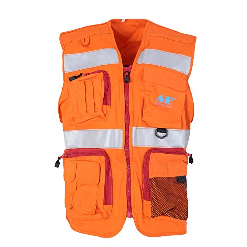 Holulo Class 2 Orange Flame Resistant Safety Vest | Hi Vis Heavy Duty Zipper & Multi Pockets | High Visibility Men Women ANSI Certified Construction Security Traffic Work Wear