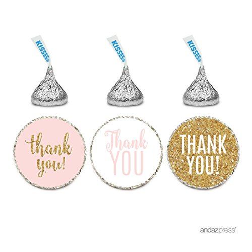 Pink Personalized Chocolate - Andaz Press Signature Blush Pink, White, Gold Glitter Party Collection, Chocolate Drop Labels Stickers, Fits Hershey's Kisses, Thank You, 216-Pack