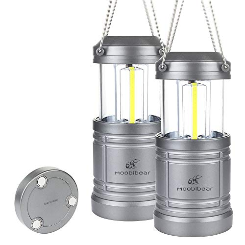 - LED Camping Lantern Lights Collapsible - Moobibear 500lm COB Technology LED Storm & Power Outage Lantern Battery Powered with Magnetic Base for Night, Fishing, Hiking, Emergencies, 2 Pack