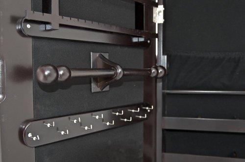 CLP neigbarer Schmuckschrank AVA mit Spiegel - aus bis zu 4 Farben wählen - mit Haken für Ketten & Steckplätze für Ringe sowie Ohrringe schwarz -