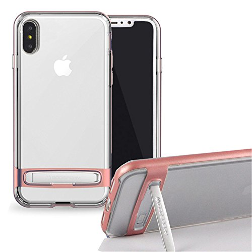 Funda iPhone X, [Ultra Slim] GOOSPERY Hybrid Dream Bumper Case [Kickstand] Resistente a impactos [Air Pocket Corner Protection] TPU / PC [Doble Capa] Funda para iPhone X Transparente (iPhone X, Rosa c Oro rosa