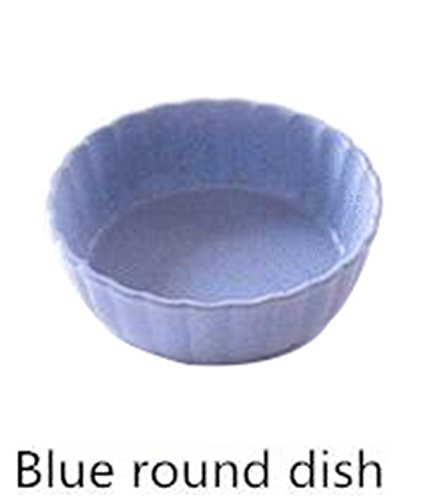 Price comparison product image JIANGTAOLANG 1Pcs Kitchen Food Sauce Dish Bowl Straw Sauce Small Plate Vinegar Flavor Dish C492 blue round