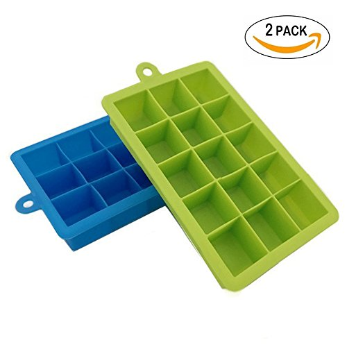 SZBAIDEKJ Pack of 2 Silicone Ice Cube Tray Molds Candy Mold Cake Mold Chocolate Mold, 15 Cavity(Green & (Green Halloween Punch Alcoholic)