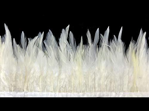 1 Yard - Ivory Rooster Neck Saddle Hackle Feather Wholesale Trim DIY Craft Wedding Dress | Moonlight -