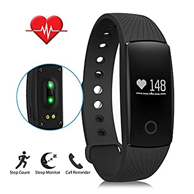 LENDOO Fitness Tracker with Heart Rate Monitor, Bluetooth 4.0 Smart Bracelet Activity Tracker Sleep Monitor HR Wristband for Android & iOS Smart Phones