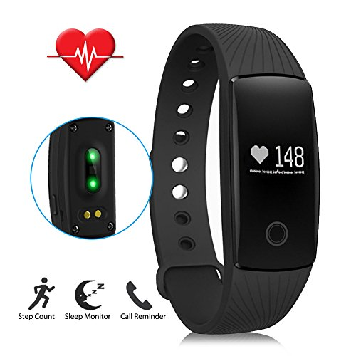 LENDOO ID107 Heart Rate Monitor, Bluetooth 4.0 Smart Bracelet Activity Fitness Tracker Sleep Monitor HR Wristband for Android & IOS Smart Phones as Unique Christmas Present(Black)