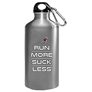 Run More Suck Less Funny Running - Water Bottle