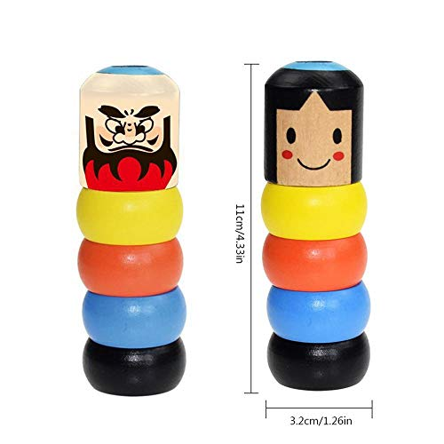 Volwco 4Pcs Immortal Daruma Magic Trick, Wooden Doll Man Magic Toy Stage Magic Props, Funny Wooden Magic Toy for Kids