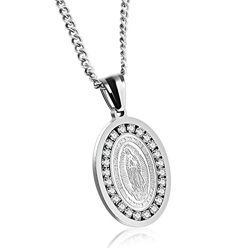 (Fate Love Virgin Mary Necklaces for Men Women Stainless Steel Our Lady of Guadalupe Medal Religious Pendant, 22-24