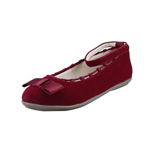 The Doll Maker Suede Ankle Wrap Flat - FBA1631121B-1 Red
