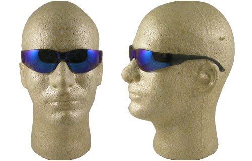 (Starlite SM Safety Glasses - Gray Temple - Blue Mirror Lens)