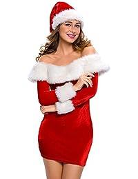 Quesera Women's Christmas Costume Long Sleeve Off The Shoulder Dress Santa Costume