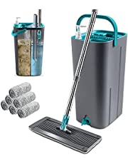 Mop Bucket System 360° Rotating Head Squeeze Flat Mop with 8pcs Microfiber Replacement Mop Pads Mop Set for Hardwood Floor Cleaning Masthome