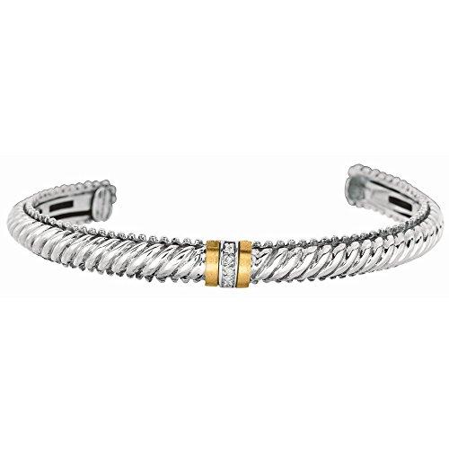 Argent 925/1000-Or Jaune 18 Carats-Bracelet jonc avec motif diamants bruts-JewelryWeb