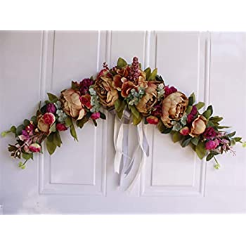 Liveinu Handmade Floral Artificial Simulation Peony Flowers Garland Wreath Wedding Table Centerpieces for Home Party Decor 23 Inch Coffee Peony Swag Wreath