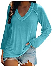 SUIQU Womens Sexy V-Neck T-Shirts Flowy Solid Color Long Sleeve Top Casual Loose Blouses Tops T-Shirts