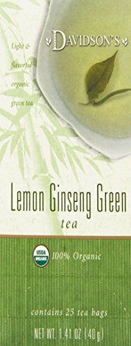 Davidson's Tea Lemon Ginseng Green, 25-Count Tea Bags (Pack of 6)