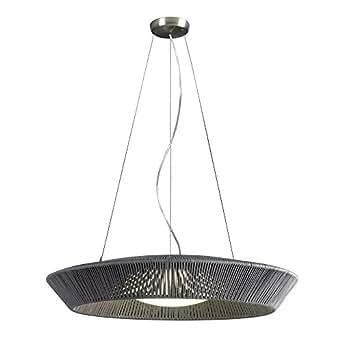 Ole! by FM BANYO/G/75C - Lámpara colgante/de suspensión, estructura metálica trenzada artesanalmente con cuerda, color gris