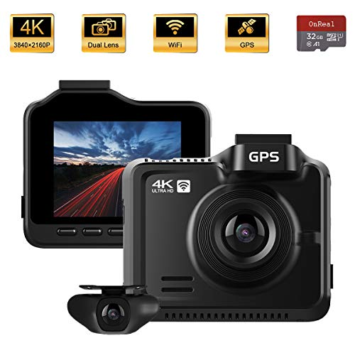 "OnReal Dual Dash Cam, 4K 1080P Front and Rear Car Camera, 2.4"" IPS Screen 3840x2160P Driving Recorder with WiFi GPS Night Vision, Parking Monitor, Loop Recording, Time Lapse, G-Sensor, WDR, 32GB Card Uncategorized"