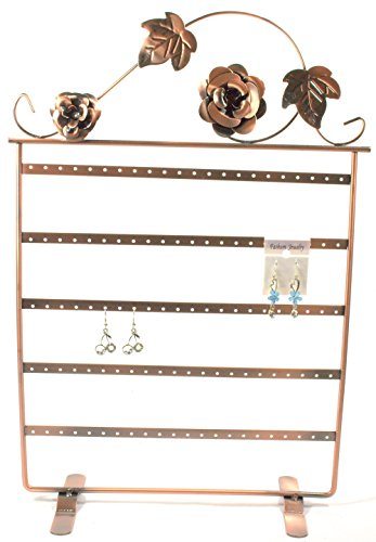 17h-Copper-Color-Roses-on-Wine-Vintage-Jewelry-Earring-Holder-Organizer-Stand-Display
