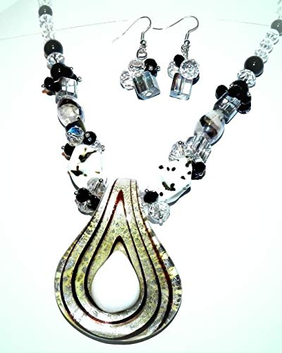Multi-Colored Spoon Lampworked Glass Necklace For Women w Silver Lobster Clasp 18