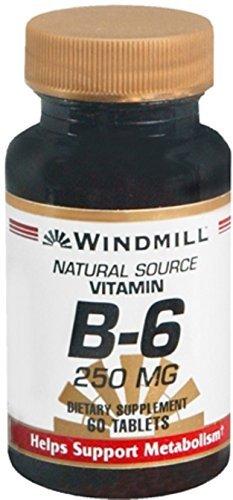 Windmill Vitamin B-6 250 mg Tablets 60 Tablets (Pack of 4)