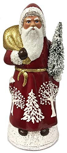 Pinnacle Peak Trading Company Ino Schaller Red Santa with White Trees German Paper Mache Candy Container