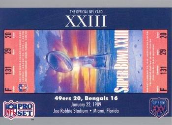 Super Bowl XXIII football card (San Francisco 49ers & Cincinnati Bengals, 1989 Ticket Stub) 1990 Pro Set #23