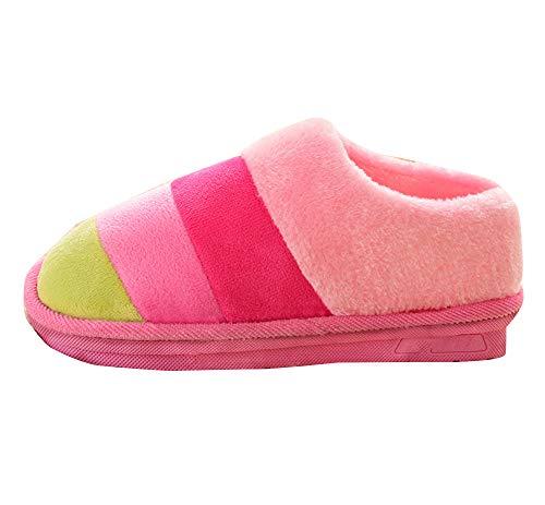 Forrado de Pink Rayas Fleece la Invierno Mujer A Confortables Zapatos Zapatillas casa f5qwCTx87